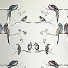 Tapeten: Perched Birds, cream