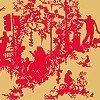 Tapeten: Decouper Toile 3, red on gold