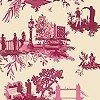 Tapeten: London Toile, red&pink on cream