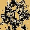 Tapeten: Decouper Toile 3, black on gold
