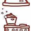 Tapeten: Meine kleine Wohnküche, Küchenherd