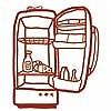 Tapeten: Meine kleine Wohnküche, Kühlschrank