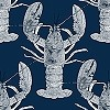 Tapeten: Lobster, dark blue
