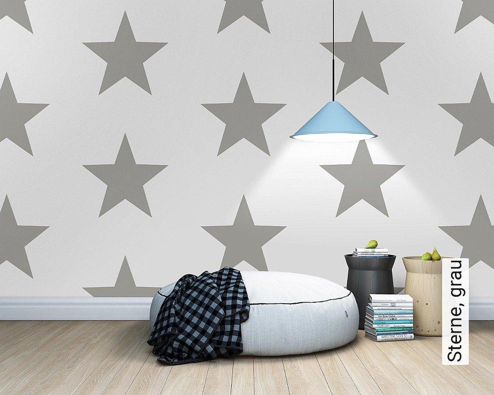 tapeten sterne grau. Black Bedroom Furniture Sets. Home Design Ideas
