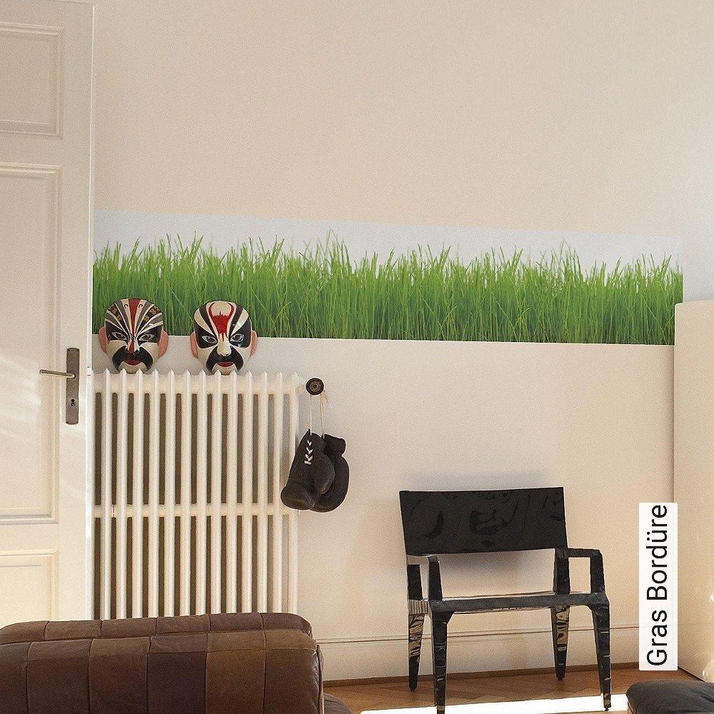 Anspruchsvoll Wandtattoo Gras Dekoration Von Gras-bordüre-gras-moderne-muster-fototapeten-grün-weiß