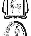 1920's-Glamour-Wallpaper-Figuren-Bilderrahmen-Zeichnungen-Rahmen-Schwarz-Weiß-Schwarz-und-Weiß