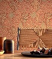 APPLE-RUST-GOLD-Blätter-Früchte-Klassische-Muster-Florale-Muster-Rot-Türkis-Creme