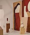 ARCHETYPE-Gegenstände-Moderne-Muster-FotoTapeten-Rot-Braun-Anthrazit-Creme