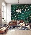 ARTDECO-Graphisch-FotoTapeten-Grafische-Muster-Grün-Creme