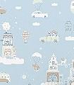 Above-the-clouds,-soft-blue-Blumen-Tiere-Bäume-Gebäude-Fahrzeuge-KinderTapeten-Anthrazit-Weiß-Hellblau-Hellbraun