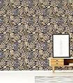 Albizia,-col.-05-Blumen-Blätter-Florale-Muster-Blau-Gold-Gelb-Anthrazit-Creme