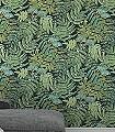 Albizia,-col.-07-Blumen-Blätter-Florale-Muster-Grün-Silber-Gelb-Anthrazit-Weiß