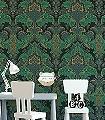 Aldwych-Ornamente-Klassische-Muster-Barock-Grün-Gold-Silber-Olive