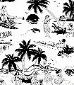 Aloha!-Wallpaper,-Black&White-Bäume-Figuren-Zeichnungen-Moderne-Muster-Schwarz-Weiß-Schwarz-und-Weiß