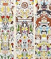 Alt-Deutsch-Tiere-Figuren-Formen-Moderne-Muster-Creme-Multicolor