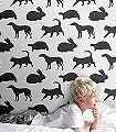 Animal-Magic-Tiere-Fauna-KinderTapeten-Grau-Anthrazit-Schwarz