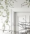 Aralia-Blätter-Äste-Florale-Muster-FotoTapeten-Grün-Weiß