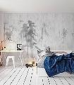 Asian-Pines-Bäume-Florale-Muster-Moderne-Muster-FotoTapeten-Grau-Weiß
