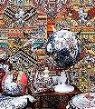 Aztec-Snow-Kreise-Blumen-Tiere-Fauna-Florale-Muster-Ocker-Multicolor