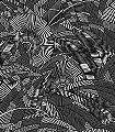 Bali-Night-Blätter-Florale-Muster-Silber-Schwarz-Hellbraun