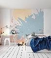 Banana-Leaves-Blätter-Florale-Muster-FotoTapeten-Rot-Gelb-Orange-Creme-Hellblau