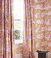 Bengale,-fuchsia-Blumen-Tiere-Bäume-Landschaft-Blätter-Figuren-Vögel-Toile-de-Jouy-Klassische-Muster-Fauna-Florale-Muster-Weiß-Pink-Ocker