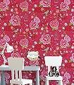 Birds-in-Paradise,-col.11-Blumen-Vögel-Florale-Muster-Rot-Pink-Multicolor