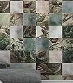 Birds-of-Paradise,-Tiles-Tiere-Vögel-Äste-FotoTapeten-Grün-Braun-Creme-Ocker