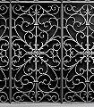 Black-Wrought-Metal-Gate-Gitter-3D-Tapeten-tromp-l'oeil-FotoTapeten-Silber-Schwarz