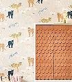 Black-panther,-creamy-orange-Tiere-Bäume-KinderTapeten-Orange-Schwarz-Hellgrün-Weiß-Ocker