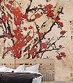 Blossom-Blumen-Buchstaben-Äste-Asia-Florale-Muster-FotoTapeten-Rot-Braun-Anthrazit-Creme