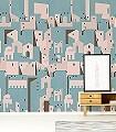 Blue-Pink-Edition-Gebäude-Moderne-Muster-Rosa-Türkis-Hellbraun