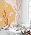 Bohemia-Scandi-Blätter-Florale-Muster-FotoTapeten-Gelb-Orange-Rosa-Creme-Hellblau