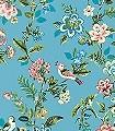 Botanical-Print,-col.02-Blätter-Vögel-Florale-Muster-Türkis-Multicolor