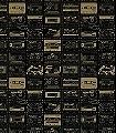 C60,-chalkboard-Gegenstände-Moderne-Muster-KinderTapeten-Gold-Schwarz