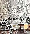 CITY-OF-LOVE-Figuren-Gebäude-Moderne-Muster-FotoTapeten-Schwarz-Weiß