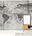 CONCRETE-WORLD-Welt-Landkarte-Moderne-Muster-FotoTapeten-Schwarz-und-Weiß
