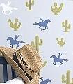 Cactus-Cowboy,-Grey-Tiere-Bäume-Figuren-KinderTapeten-Grün-Blau-Grau-Weiß