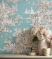 Campagne,-nattier-Blumen-Tiere-Bäume-Landschaft-Blätter-Figuren-Vögel-Toile-de-Jouy-Klassische-Muster-Fauna-Florale-Muster-Braun-Türkis-Creme