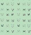 Cats-Tiere-Moderne-Muster-Schwarz-Hellgrün