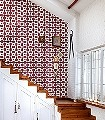 Celosia-clay-Kachel-Retro-Muster-Rot-Grau-Weiß