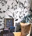 Chance-Tiere-Blätter-Fauna-Florale-Muster-Moderne-Muster-FotoTapeten-Anthrazit-Weiß