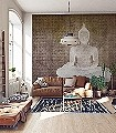Chanting-Buddha-Figuren-Gesichter-Asia-Collage-FotoTapeten-Braun-Bronze-Weiß-Creme