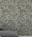 Chiavi-Segrete,-col.-7-Blätter-Florale-Muster-Anthrazit-Creme-Ocker