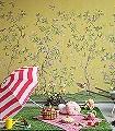 Chinoiserie-Chic,-Saffron-Blumen-Tiere-Bäume-Blätter-Vögel-Äste-Fauna-Florale-Muster-FotoTapeten-Multicolor