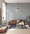 Chiswick-Grove,-col.-8-Blumen-Tiere-Blätter-Vögel-Äste-Fauna-Florale-Muster-Silber-Gelb-Rosa-Creme-Hellblau-Hellbraun