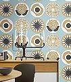 Clocks,-col.01-Kreise-Moderne-Muster-Blau-Weiß-Hellbraun-mint
