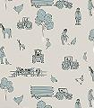 Cluck-a-doodle-farm,-cream-and-blue-Tiere-Fahrzeuge-KinderTapeten-Anthrazit-Creme-Hellblau