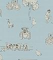Cluck-a-doodle-farm,-light-blue-Tiere-Fahrzeuge-KinderTapeten-Anthrazit-Creme-Hellblau