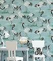 Cranes,-col.-2-Tiere-Vögel-Fauna-Florale-Muster-Rot-Schwarz-Hellgrün-Weiß